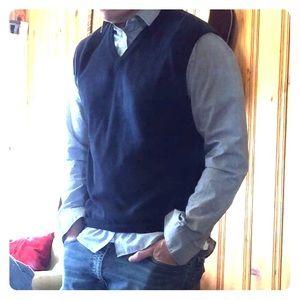 Dark Navy, Almost Black, V-neck Pullover Sweater